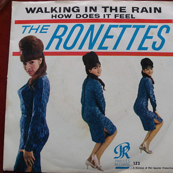"1964 Ronettes ""Walking in the Rain"" 45 with rare picture sleeve"