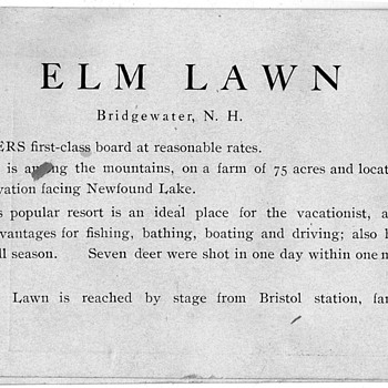 Elm Lawn Bridgewater N.H. vacation card