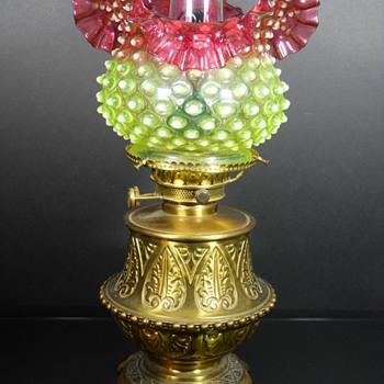Hobbs Brockunier Dewdrop lamps in rubina verde
