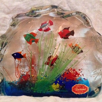 Early 70's Murano Art Glass 6-fish aquarium