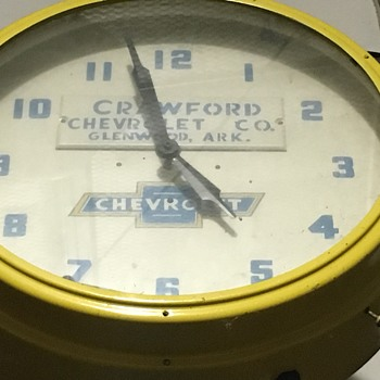 1940's Chevrolet Dealer wall clock.  Local dealer history.