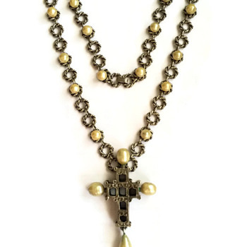 Vintage Diane Love for Trifari Greek Reliquary Crucifix Necklace - Costume Jewelry
