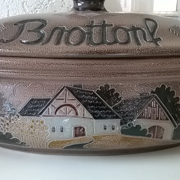 Thrift Shop Find For Today - German Salt Glazed Brottopf (Bread Bin) $8.00 - Art Pottery