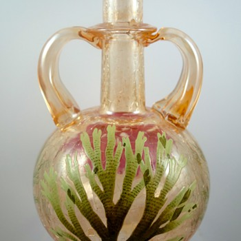 Moser Topaz Crackle Glass vase with enameled aquatic themed decoration, ca. 1920s