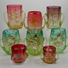 Tyg Vaseline (Uranium) Bohemian Glass Grouping