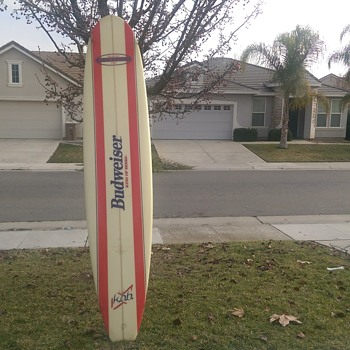 Budweiser 9 foot long collectors surf board. It has never been in the water.