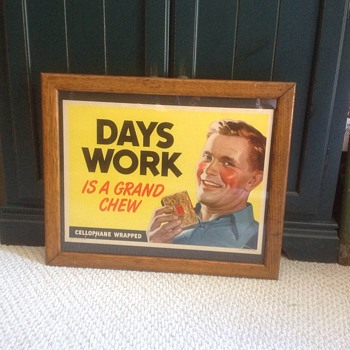 1949 Days Work RJ Reynolds tobacco paper litho sign - Posters and Prints