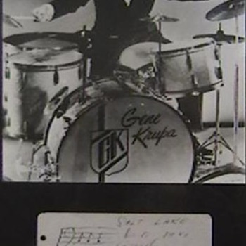 Jazz Drummer Gene Krupa Photo and Autographed Index Card