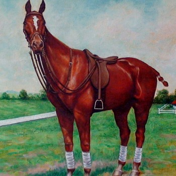 "Horse Painted On Canvas ""HEREIAM"" J.Gerardi - Visual Art"
