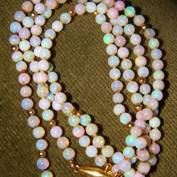 Vintage Deco Fire Crystal Opal Bead 750 18k Necklace 23&quot; 4mm - Fine Jewelry