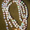 Vintage Deco Fire Crystal Opal Bead 750 18k Necklace 23&quot; 4mm