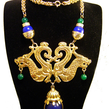 Vintage Donald Stannard Double Dragon Necklace - Costume Jewelry