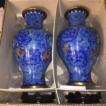 Mystery Chinese/Japanese metal vase set/pair - Asian