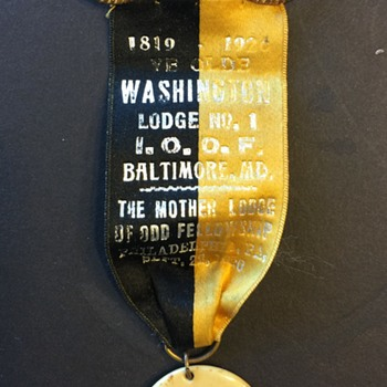 "Masonic Ribbon ""YE OLDE Washington Lodge No. 1"" Sept. 22nd 1920"