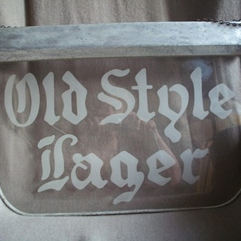 Glass Old Style  Lager Beer Sign - Breweriana