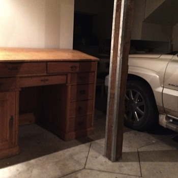The Huge desk that lives in the garage