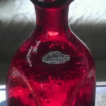 Blenko pinched crackle glass decanter