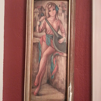 Pretty Women Holding a Madolin Picture Frame - Visual Art