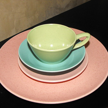 Vintage speckled dinnerware
