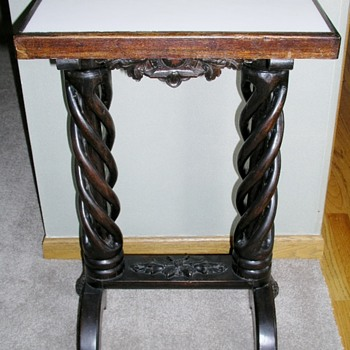 Marble top open barley twist table
