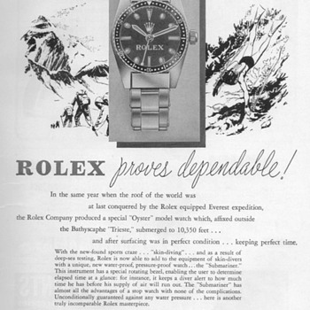 "1954 - Rolex ""Submariner"" Watch Advertisement - Advertising"