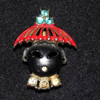 Asian Themed Pin with Rhinestones, Red Hat and Dark Face
