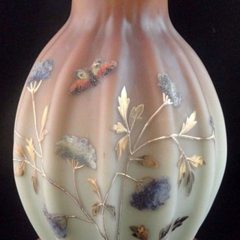 Antique Victorian Loetz DEK I/417 Hand Painted CORALENE Art Glass Vase