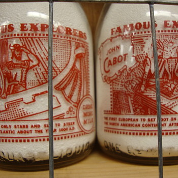 """Famous American Explorers"" Milk Bottles..Johnstown Dairy......."
