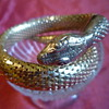 Whiting and Davis snake bracelet, gold tone.