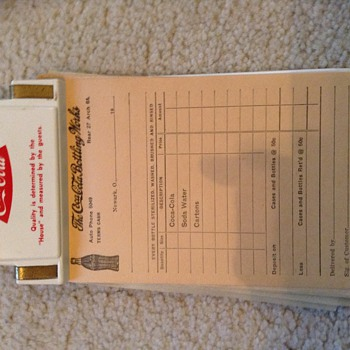 coca cola clipboard and order sheets