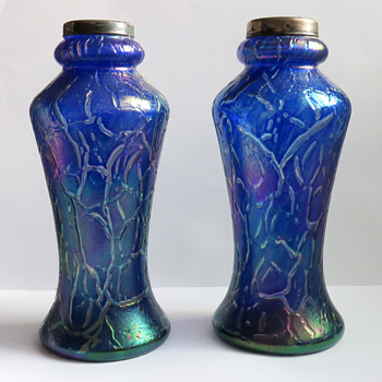 Pair of Cobalt Blue Bohemian Crackle Vases with Silver Rims