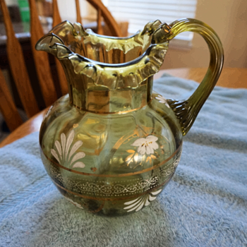 Vintage Bohemian Green Glass Pitcher 1900-1915