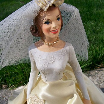 "1940's Bridal display Miniature Mannequin 14"" Tall"