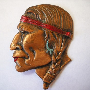 Old Copper ? Native American Brave Brooch - Costume Jewelry
