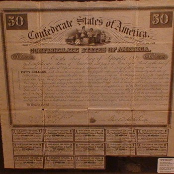 Confederate States Of America $50 8% Coupon Book 1861 - Paper