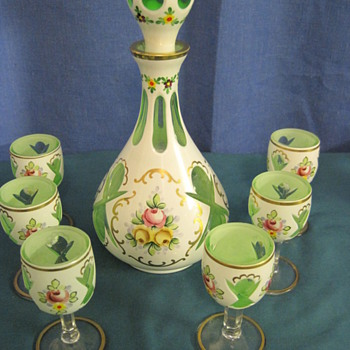 Bohemian Czeck Cased Glass 6 Glasses and Decanter - Art Glass