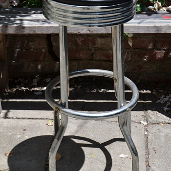 Old Chrome and Leather Barstool - another street find! - Furniture