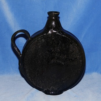 Unidentifiable Flat Sided Black Glazed Flask Urn Ewer Jug??? - Signed but Illegible