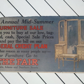 Pre 1920&#039;s Furniture Store Cardboard Trolley Car Advertisement Sign