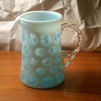 Fenton Blue Opalescent Coin Dot Creamer W/Bamboo Handle - Glassware