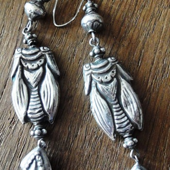Huge French antique silver Grashopper earrings - Fine Jewelry