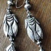 Huge French antique silver Grashopper earrings