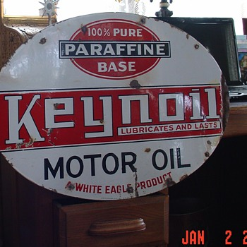 White Eagle Keynoil Motor Oil Double Sided Porcelain Sign - Signs