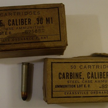 "M-1 Garand Bullets from World War 2 ""Two Boxes"" - Military and Wartime"