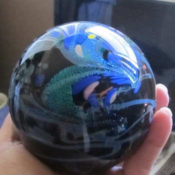 Art glass ball paper weight signed