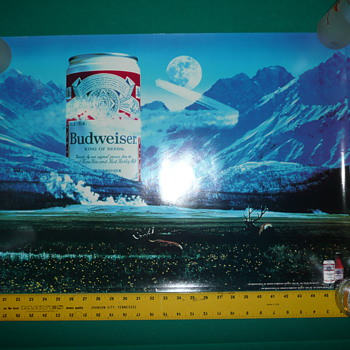 1984 Budweiser Poster - Elk with can in mountains by moon
