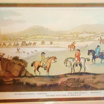 A Hunting We Will Go!  With King George 3rd!  Print from thrift store $3.50 - Posters and Prints