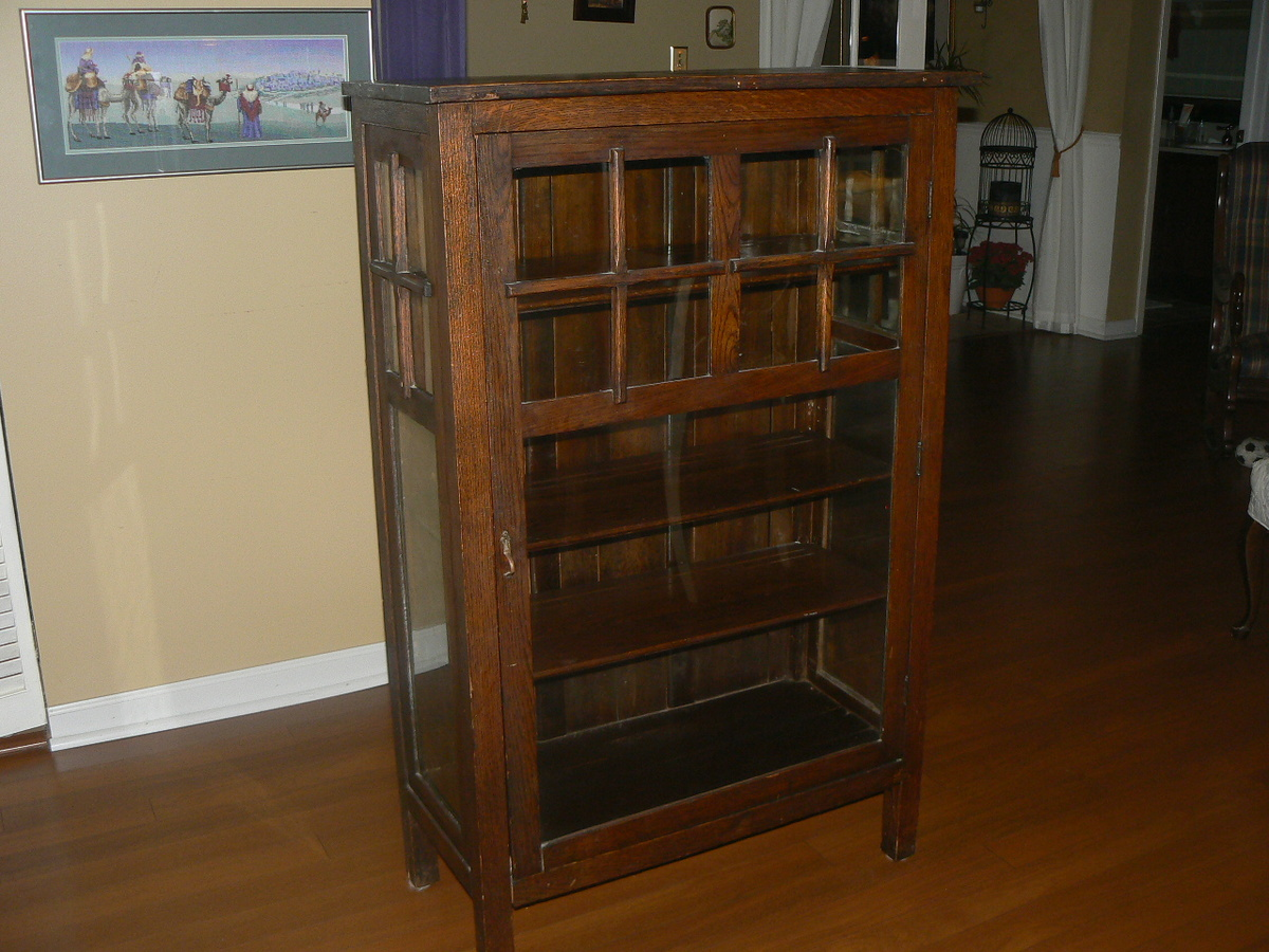 Antique Mission Single Door Cabinet Bookcase Are These