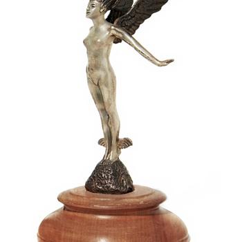 Femme Ailee, Woodland Sprite Mascotte, Silvered Nickel, Circa1925 - Art Deco