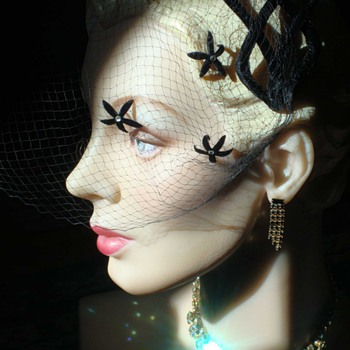 A Black Velvet Headband with a Wonderful Starry Veil - Hats